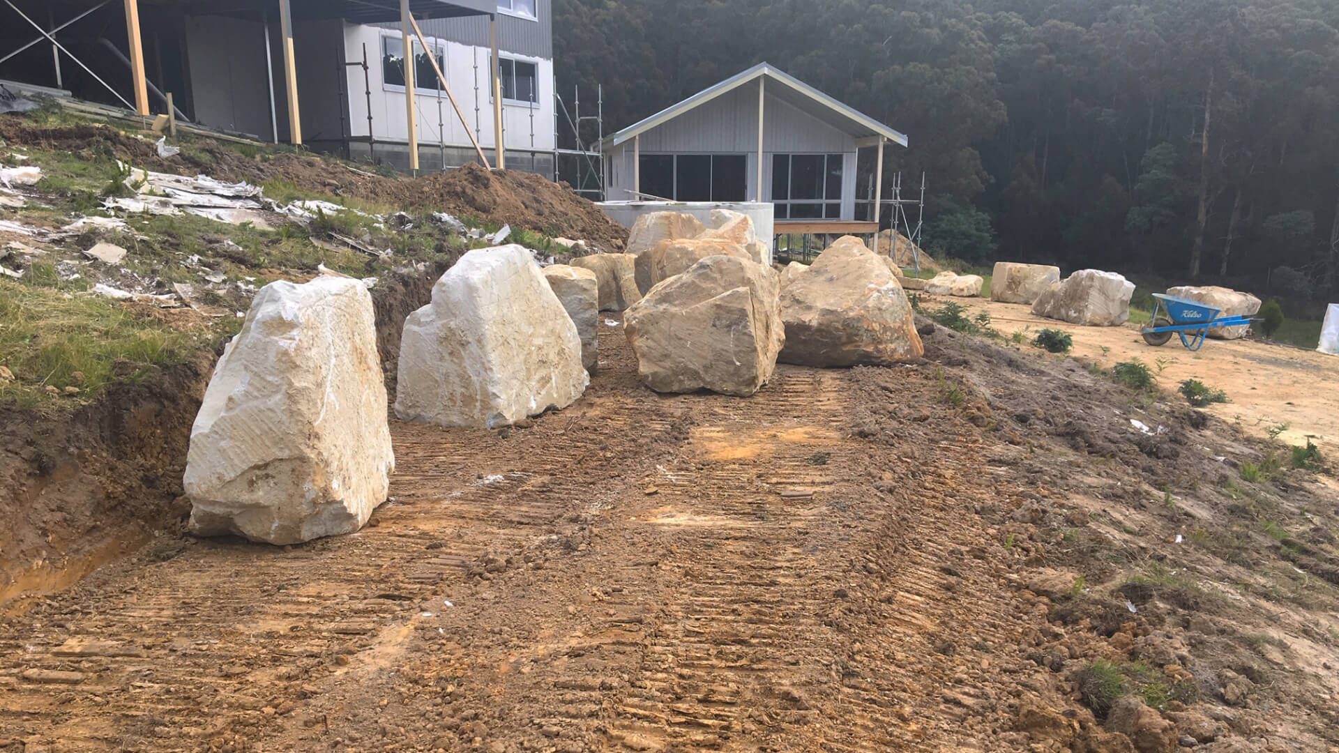 Boulders ready to be positioned