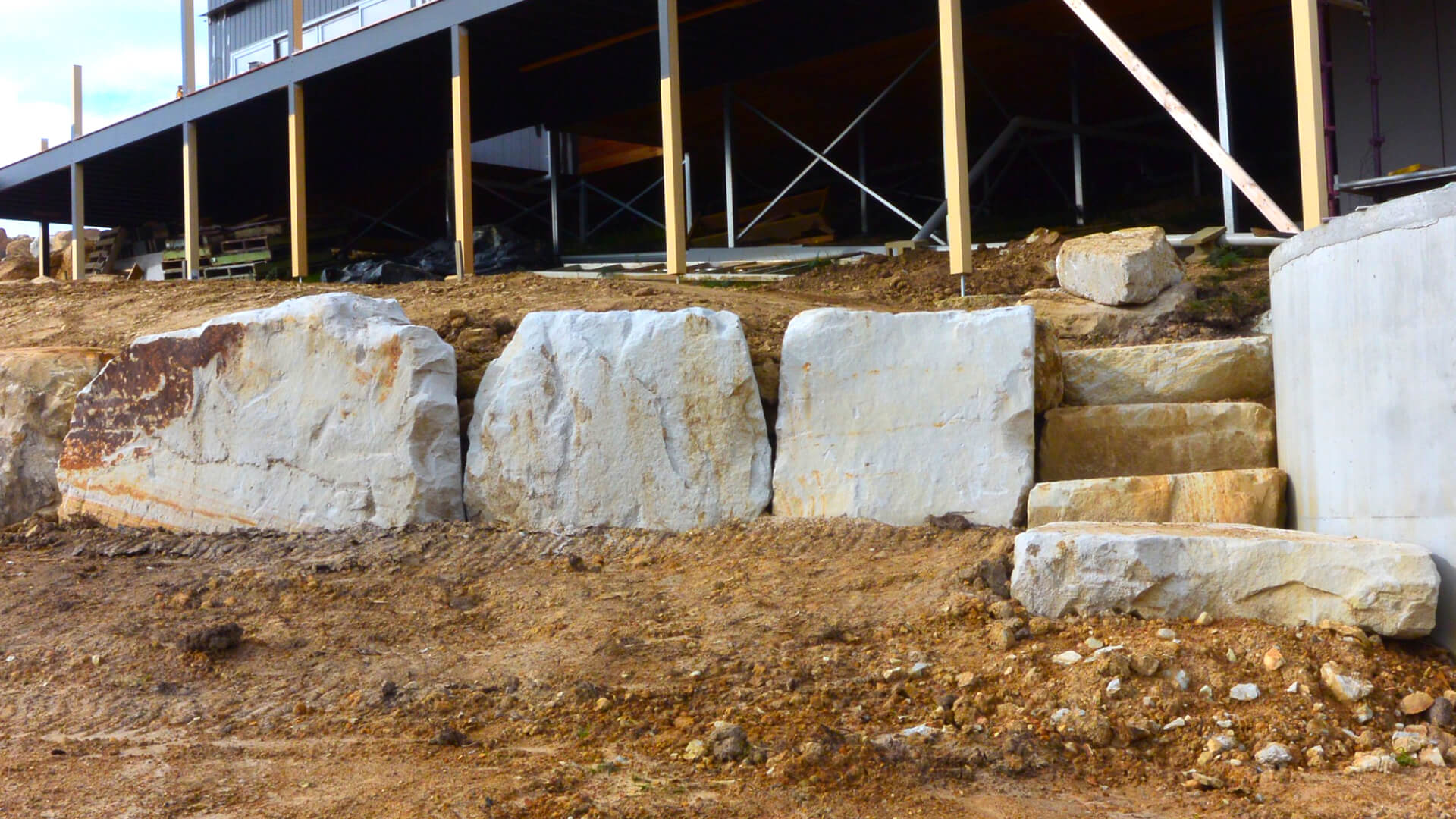 Boulders in place with steps