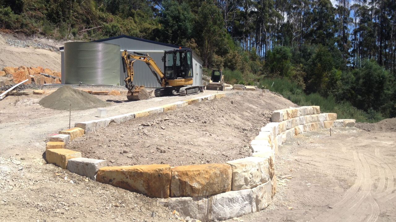 House site more retaining walls